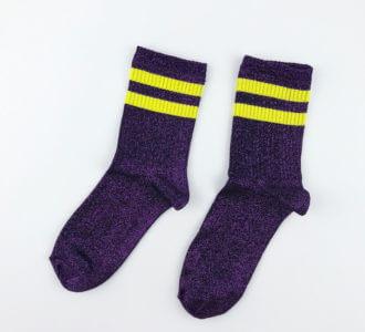 Фиолетовый люрекс с желтыми полосками