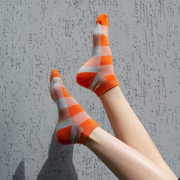 Grey-orange tartan